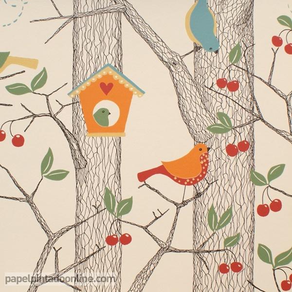 Papel pintado p jaros en naranja papel pintado de pared for Papel decorativo pared