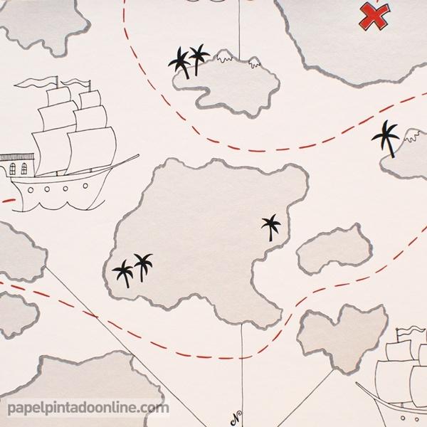 Papel pintado mapa tesoro papel pintado de pared - Papel pintado rojo y blanco ...