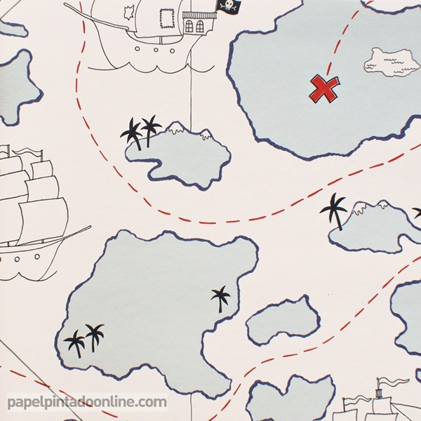 Papel pintado mapa tesoro papel pintado de pared - Papel pintado piratas ...