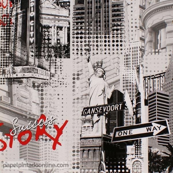 Papel pared edificios nueva york en blanco y negro y elementos en rojo papel pintado de pared - Papel pintado rojo y blanco ...