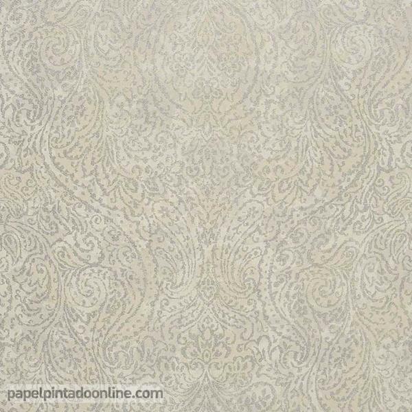 Papel pared damasco plata sobre fondo beige papel for Papel pintado color plata