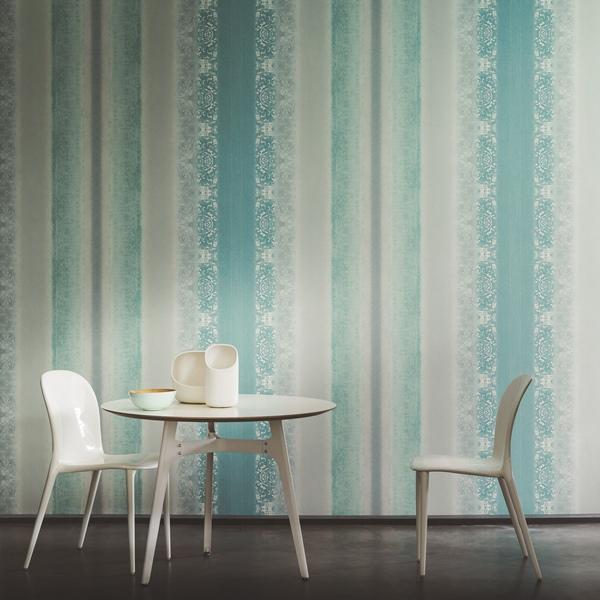 Papel pared rayas difuminadas turquesa y gris papel - Papel pared rayas verticales ...