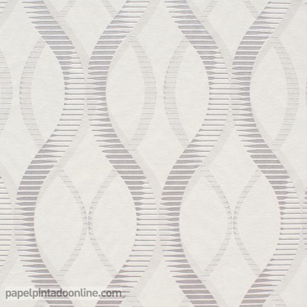 Papel pintado ondas blanco y plata papel pintado de pared for Papel pintado en blanco y plata