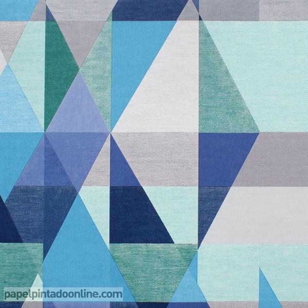 Papel pintado geometr a gris y azul papel pintado de pared for Papel pintado azul y plata