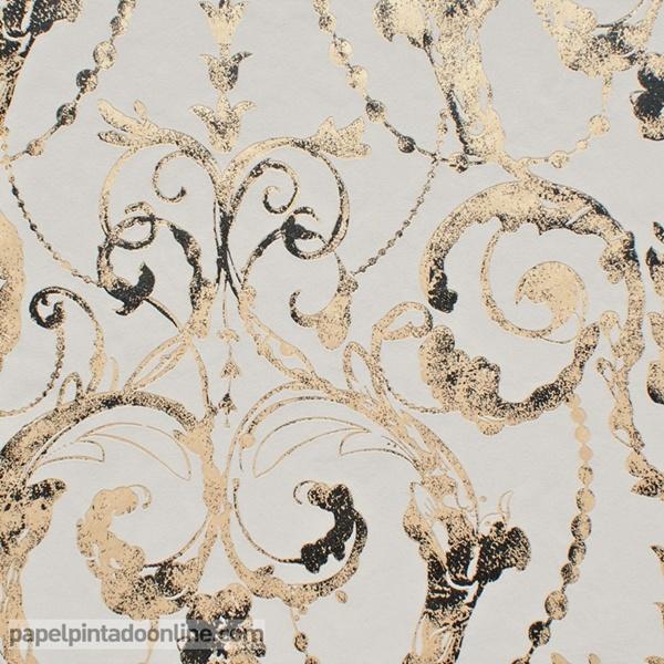 Papel pared candelabro dorado y gris papel pintado de pared for Papel decorativo dorado