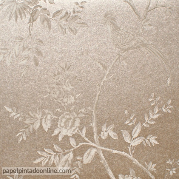 Papel pintado ramas con p jaros papel pintado de pared - Papel pintado metalizado ...